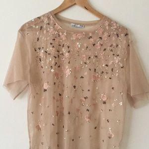 Zara top * Sheer * Sequined rose/gold pattern
